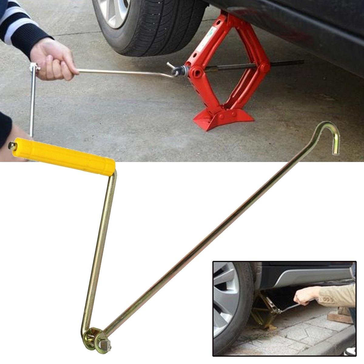 1Pcs Car Jacks Tire Wheel Lug Wrench Tool Crank Scissor Speed Handle Yellow Metal Steel  ...
