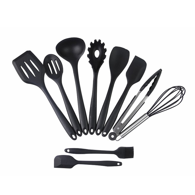 10 Piece Silicone Kitchen Utensils Cooking Utensil Set Spatula, Spoon,  Ladle, Spaghetti Server