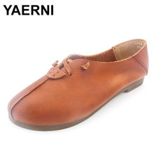 YAERNI Women s Shoes Genuine Leather Ballet Flats Round toe Slip on  Ballerina Flats 2017 Ladies Flat Shoes Female Footwear 718c8e269569
