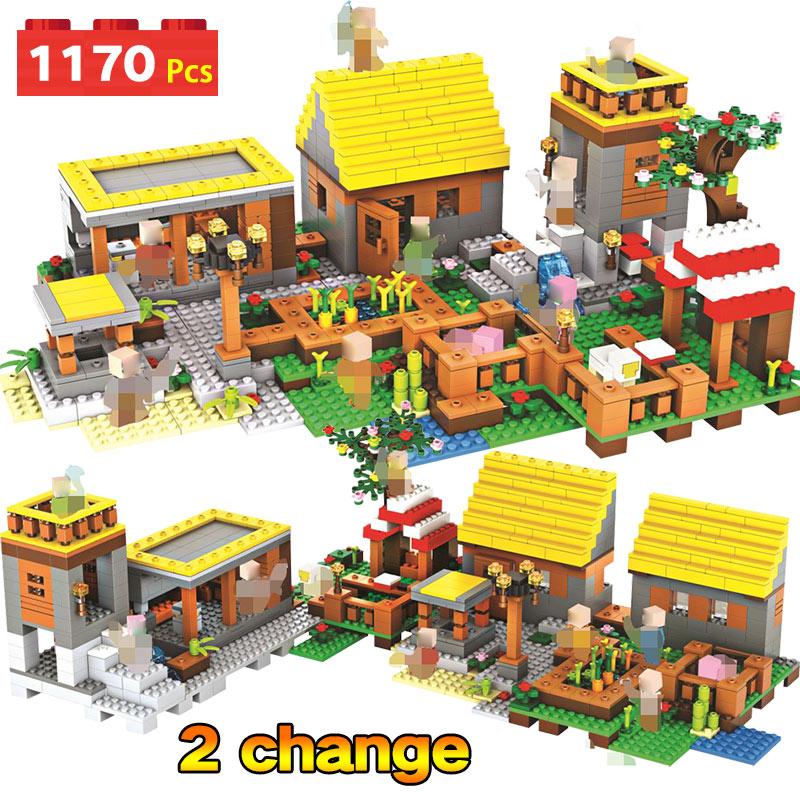 1170 pièces My world Series Dream Village blocs de construction compatibles avec les mini-jeux de garde Minecrafted jouets éducatifs