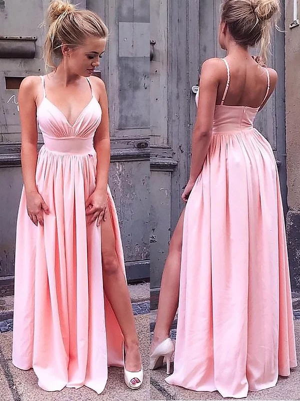Pink Chiffon V Neck Spaghetti Strap Backless A Line Long
