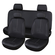 Black PU Leather Car Seat Cover Full Set Front Rear Seat Cushion Mat Protector carnong car seat cover leather pu universal waterproof cushion black interior accessory for car auto front rear seat covers set