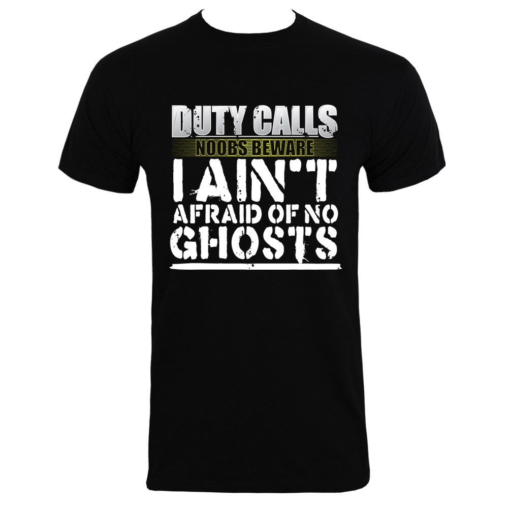 Duty Calls I Aint Afraid Of No Ghosts Mens Black T-shirtc Men T Shirt Great Quality Funny Man Cotton Printed T-Shirt Men