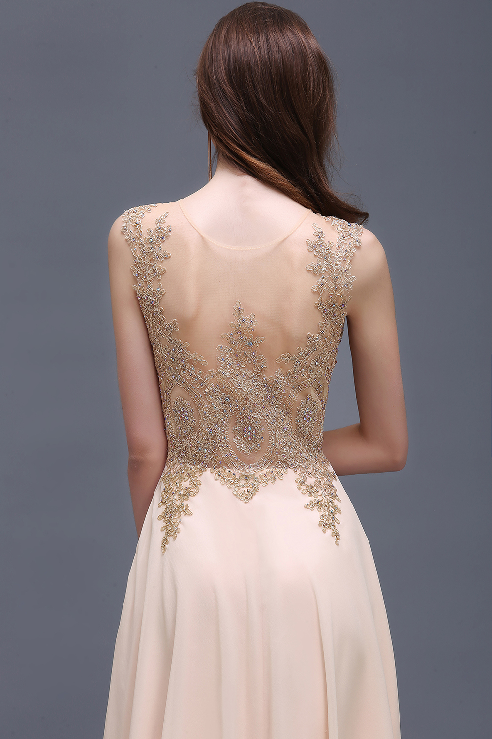 Robe Soiree New Champagne Lace Embroidery Beaded Long Evening Dress Sexy  Sheer Back Chiffon Evening Party Dresses-in Evening Dresses from Weddings    Events ... 739864cef998