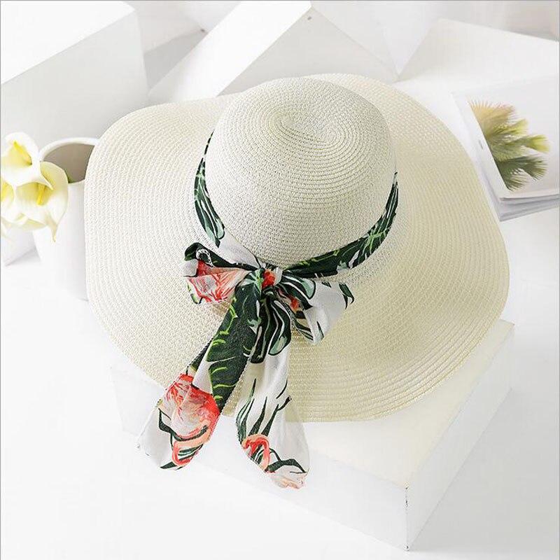 fd6bc0600c97d BINGYUANHAOXUAN 2018 New Summer Female Sun Hat Bow Ribbon Panama Beach Hats  for Women Chapeu Feminino Sombrero Floppy Straw Hat-in Sun Hats from  Apparel ...