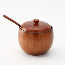 1 Set Concise Janpanese Style Solid Wood Durable Wooden Seasoning Pot Spice Jar with Spoon and Lid for Kitchen Home(China)