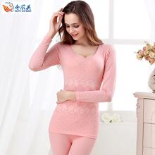 Thermal underwear female thin set o-neck sexy lace basic slim beauty care long johns long johns women's