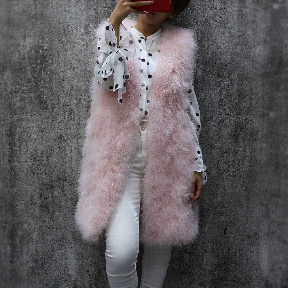 Длинный Меховой жилет из турецких перьев, осенний и зимний женский тонкий однотонный жилет без рукавов с v-образным вырезом, женский жилет из страусиных перьев