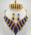 2016 Top Exquisite Dubai Jewelry Set Luxury  Gold Plated Big Nigerian Wedding African Beads Jewelry Sets