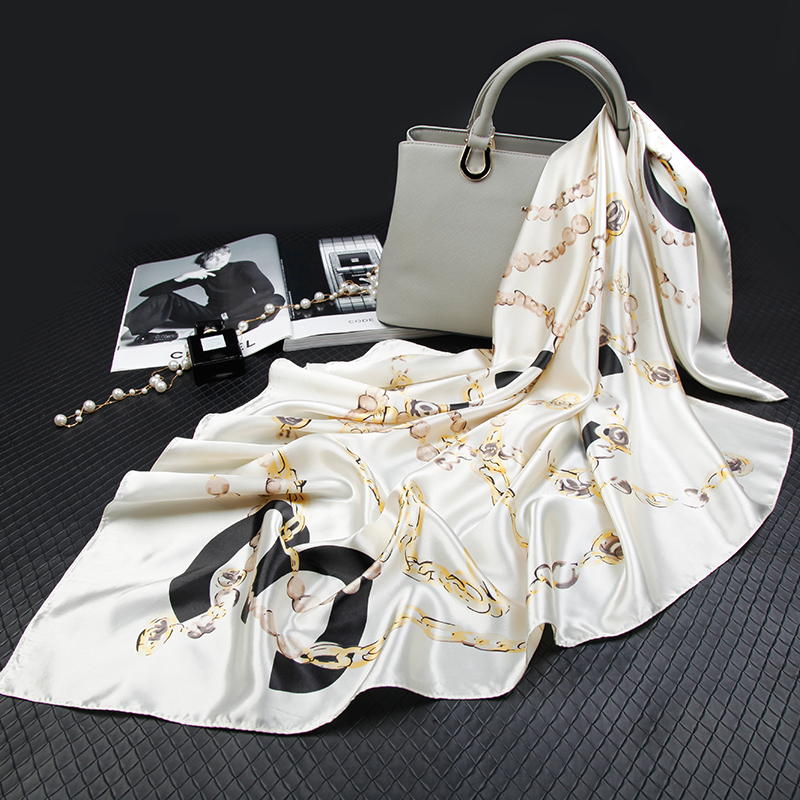 Square Head Silk   Scarf   for Women Luxury Brand Neck Kerchief Chain Letter Print Bandanas Big Foulards Femme Shawls   Wraps   90*90CM
