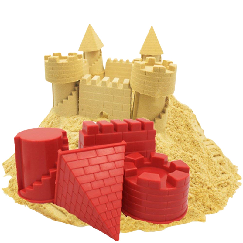 4PCS/Set Kids Seaside Beach Toys Baby Soft Rubber Dune Sand Castle Mold Tools For Children DIY Sand Castle Baby Outdoor Toys