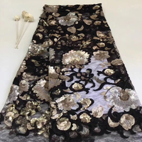 2019 high end French sequined lace fabric, high quality African tulle lace fabric sequins wedding dress Nigeria lace T31111