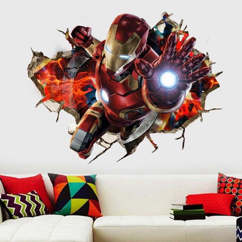 Super héros Avengers Wall Art 3D Decal chambre à coucher Peinture Murale Iron Man Autocollant Enfants