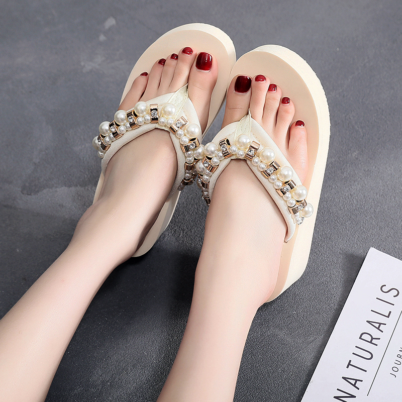 2019 Frauen Hausschuhe Sommer Strand Casual Schuhe Mädchen Perle Kristall Keile Pantoffel Mode Faulenzer Plattform Mujer Rutschen Frauen