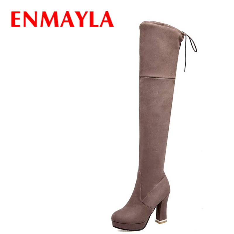 ENMAYLA Winter High Heels Platform Thigh High Boots Womens Lace-up Party Shoes Woman Flock Over the Kneed High Long Boots Black enmayla winter autumn high heels lace up knee high boots women shoes sewing green brown black knigh long boots