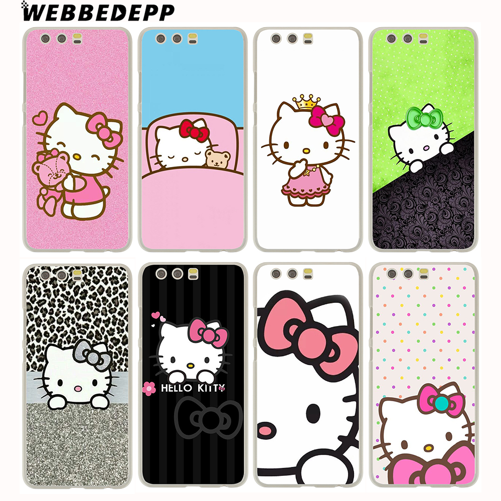 WEBBEDEPP Doraemon And Hello Kitty Hard Case for Huawei P20 Pro Smart P10 P9 Lite 2016/2017 P8 Lite 2015/2017