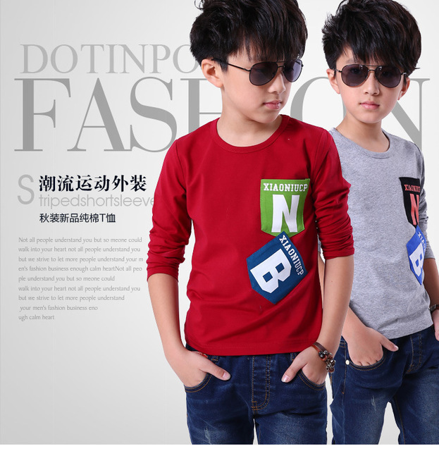 Мальчики с длинными рукавами Футболки 2015 весна пальто мальчиков детская одежда мальчиков одежда для детей футболки дети