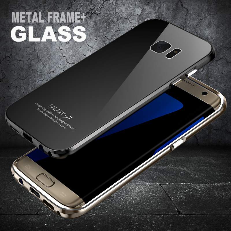 LUPHIE Brand Metal Aluminum Alloy Border Tempered Glass Back Cover For Samsung Galaxy S6 S7 S7