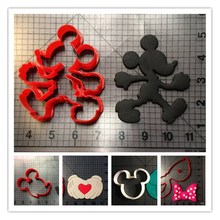 Cartoon Micky Mouse Head Hand Bow Series Fondant Cutter Custom Made 3D Printed Fondant Cake Tools Cookie Cutter Set Confeitaria