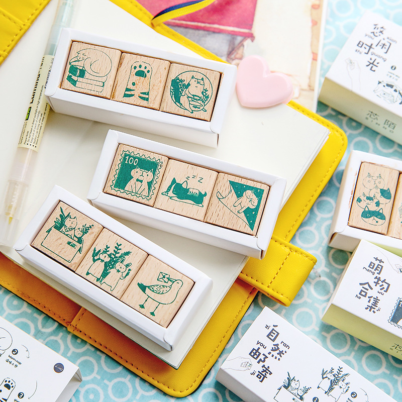 3 Pcs/set Cute Cat Stamp Set Cute Diy Wooden Rubber Stamps Seal For Scrapbooking Student Prize Promotional Gift Stationery