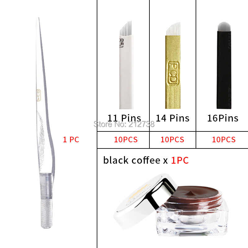 Набор для бровей, Перманентный макияж, тату, бровей, тату, микроблейдинг, ручка, наборы с 30 шт., игла, лезвие для обучаемого пользователя