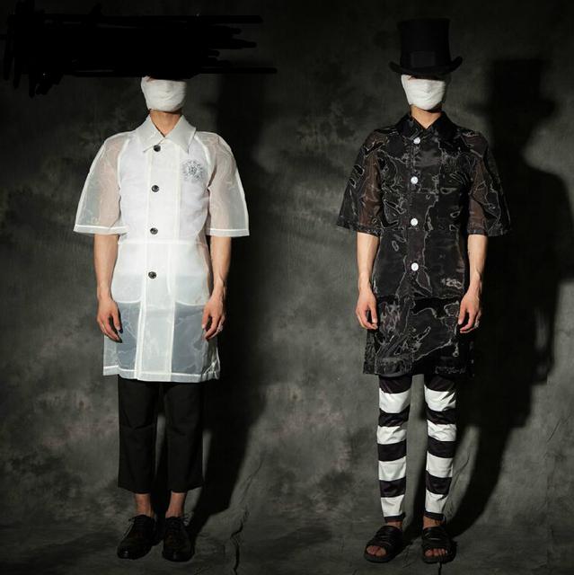 Homens verão Organza meia manga solta perspectiva protetor solar casaco homens figurinos! S-2xl