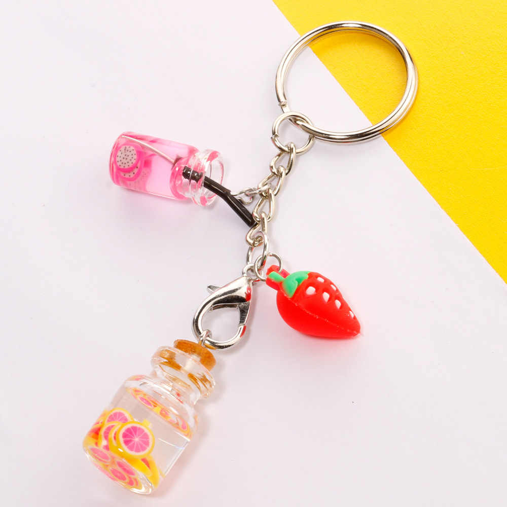 Creative Mini Fruit juice Key Chains for women Summer Funny Drinks Keychain Best Friend Jewelry Bags Car Purse keyring
