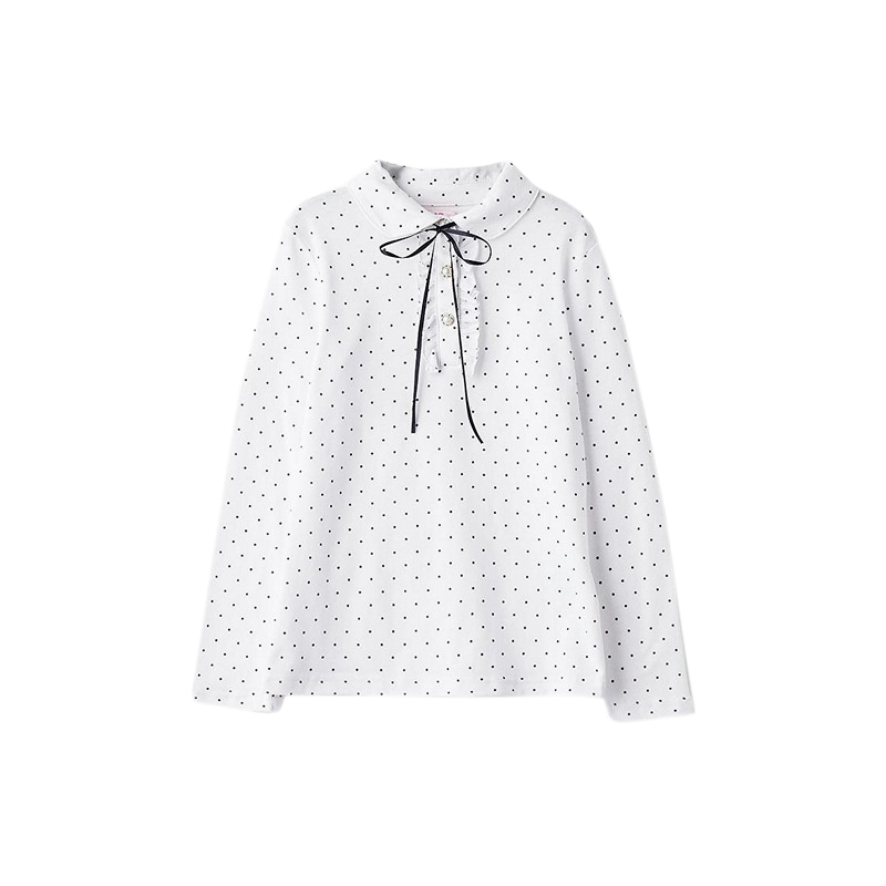 Blouses & Shirts MODIS M182K00020 for girls kids clothes children clothes TmallFS plus collar knot blouses