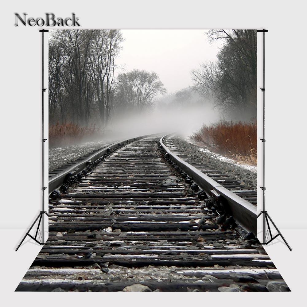NeoBack 8x12ft Misty Forest Railway Photo Background Photo Studio Portrait Photography backdrops Indoor Photo Backdrops P2437