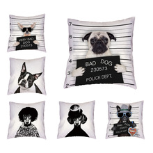Dropshipping Cushion Cover Furnizor Realistic Pug Schnauzer Poor Dog Print Bad Dog 17 inch Arunca perna de dormit Home Cana Decorati