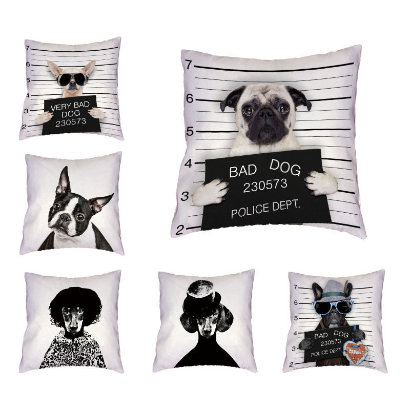 Dropshipping Supplier Cushion Cover Realistic Pug Schnauzer Poor Dog Print Bad Dog 17 Inch Throw Pillow Case Home Couch Decorate