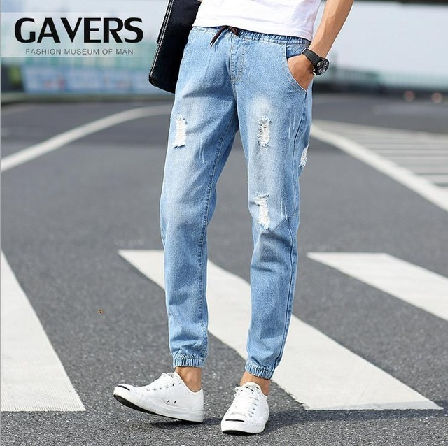 dfafeb6c9d582 HOT Fashion Spring Man Ripped Jeans Male Foot Trousers Crus Beggar Harem  Vintage Pencil Pants Elastic