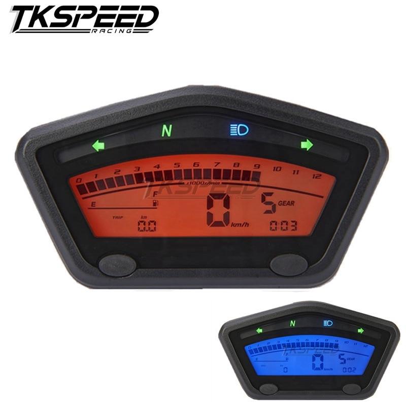 Universal Motorcycle Digital Speedometer Mini LCD Tachometer Odometer Gear Indicator Instrument Velocimetro Tacometro Moto