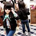 Outono roupas para crianças e inverno outerwear casaco masculino criança do sexo feminino projeto curto PU ficar jaqueta de couro crianças colarinho