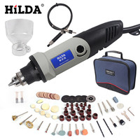 HILDA 220V 400W Mini Grinder 6 Position Variable Speed For Dremel Rotary Tool Grinding Power Tool with Dremel Accessories