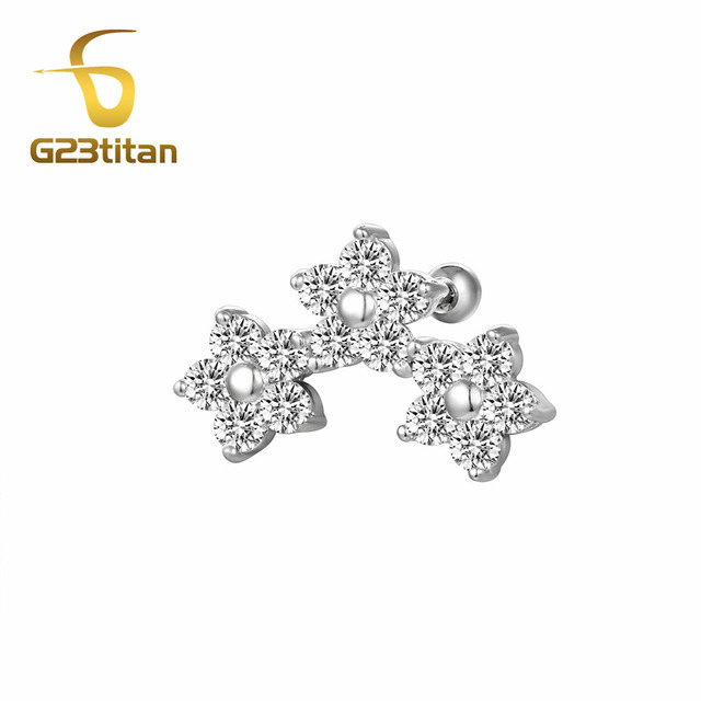 G23an White Zircon Flower Ear Stud For Tragus Helix Cartilage Piercing Rings 16 Gauge Anium Earrings