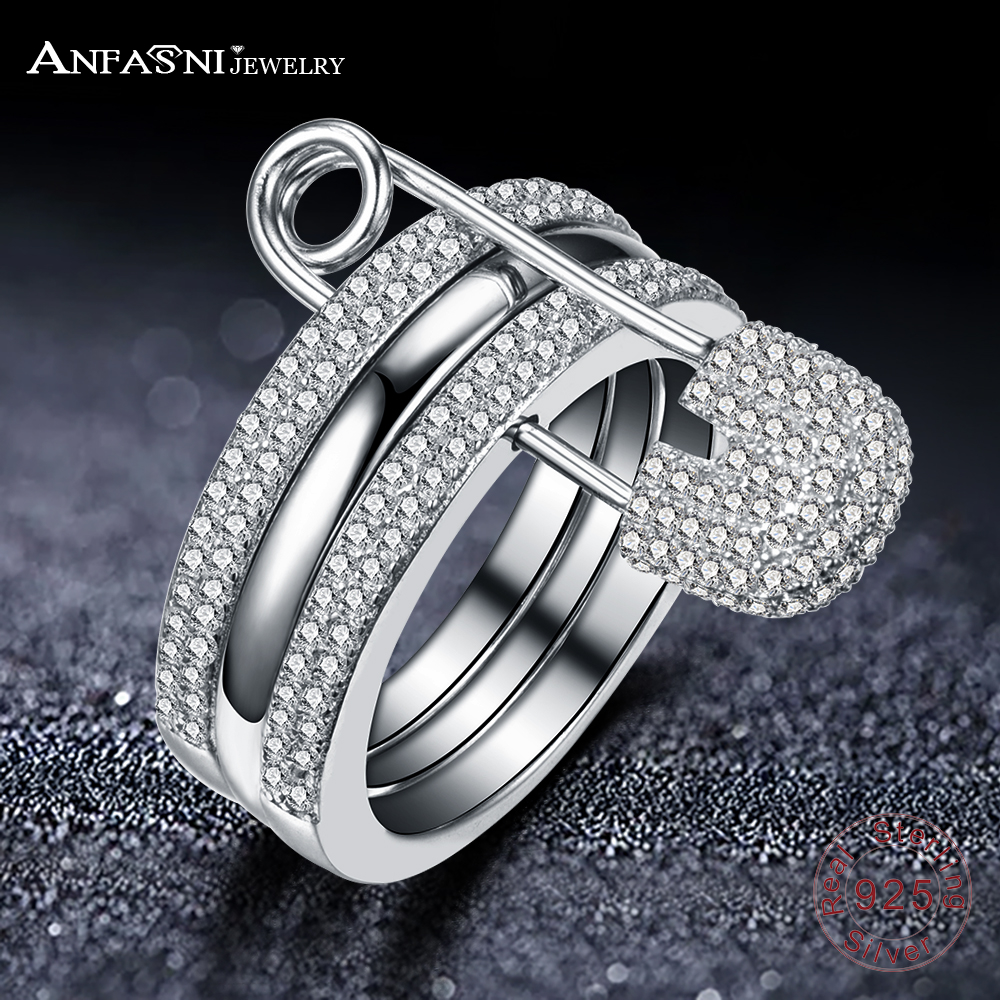 ANFASNI Real Sterling Silver Rings Cubic Zirconia Ring for Women Pin Three