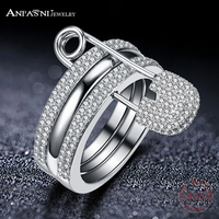 ANFASNI Real 925 Sterling Silver Rings Cubic Zirconia Ring for Women Pin Three Rings Jewelry Party Anniversary Gift CGSRI0034 B