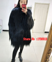 New disign 2017 winter women real goat wool fur coat long hair overcoat outerwear female fur jacket