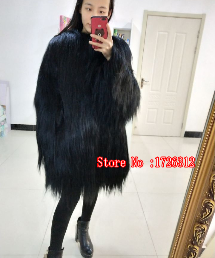 New disign 2019 women real goat wool fur coat long hair overcoat winter outerwear female fur jacket