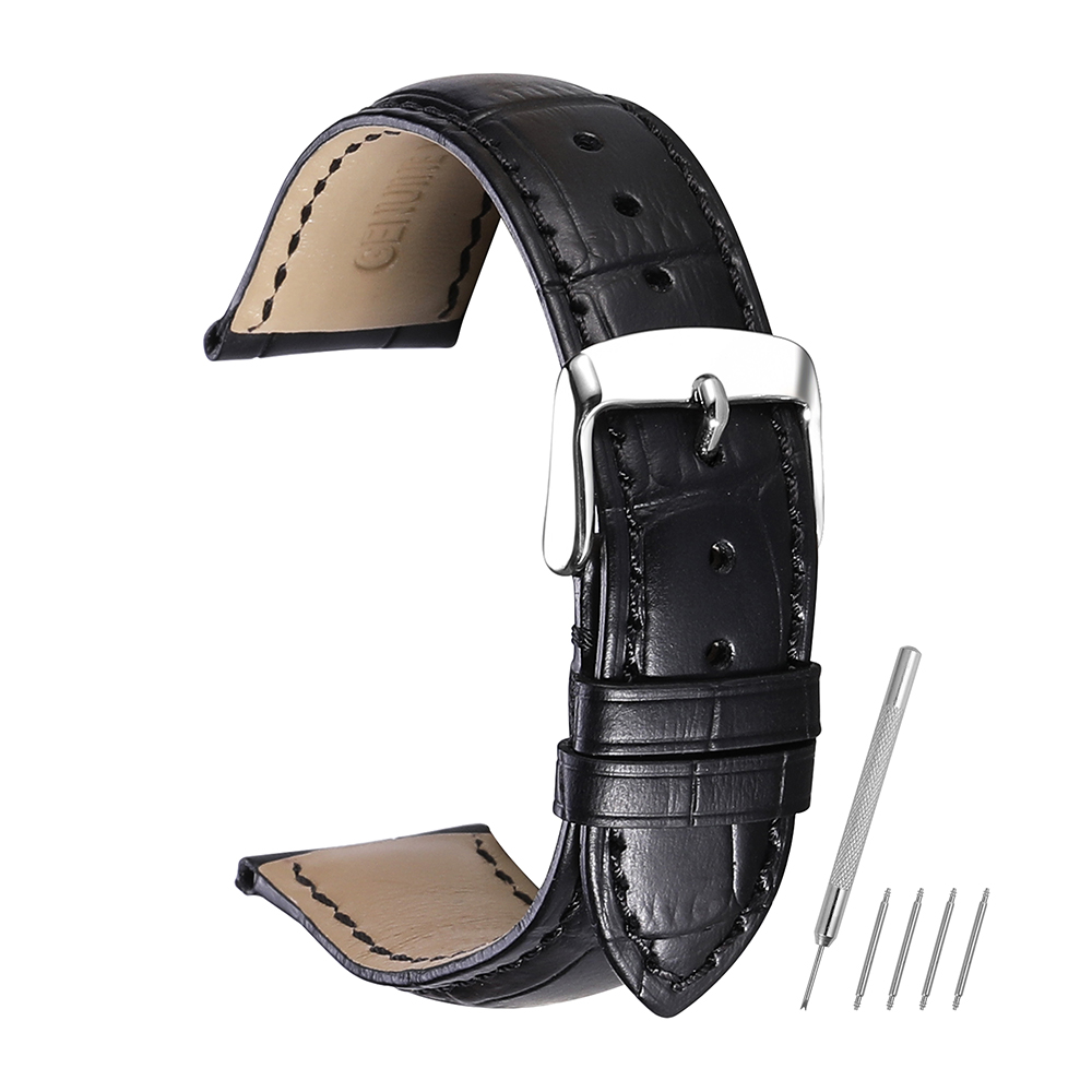 iStrap Watchband 18mm 19mm 20mm 21mm 22mm 24mm Soft Calf Genuine Leather Watch Strap Alligator Grain Watch Band for Tissot Seiko chimaera black brown deep brown handmade crocodile alligator grain 20mm 21mm 22mm genuine calf leather watch band strap for iwc