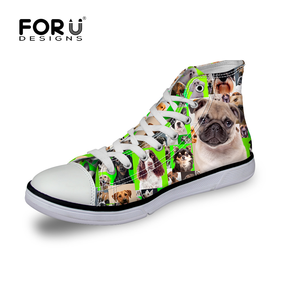 FORUDESIGNS Cute Pet Dog Pug Print Women's Classic Vulcanized Shoes Fashion Women High Top Canvas Shoes Comfort Lace up Flats