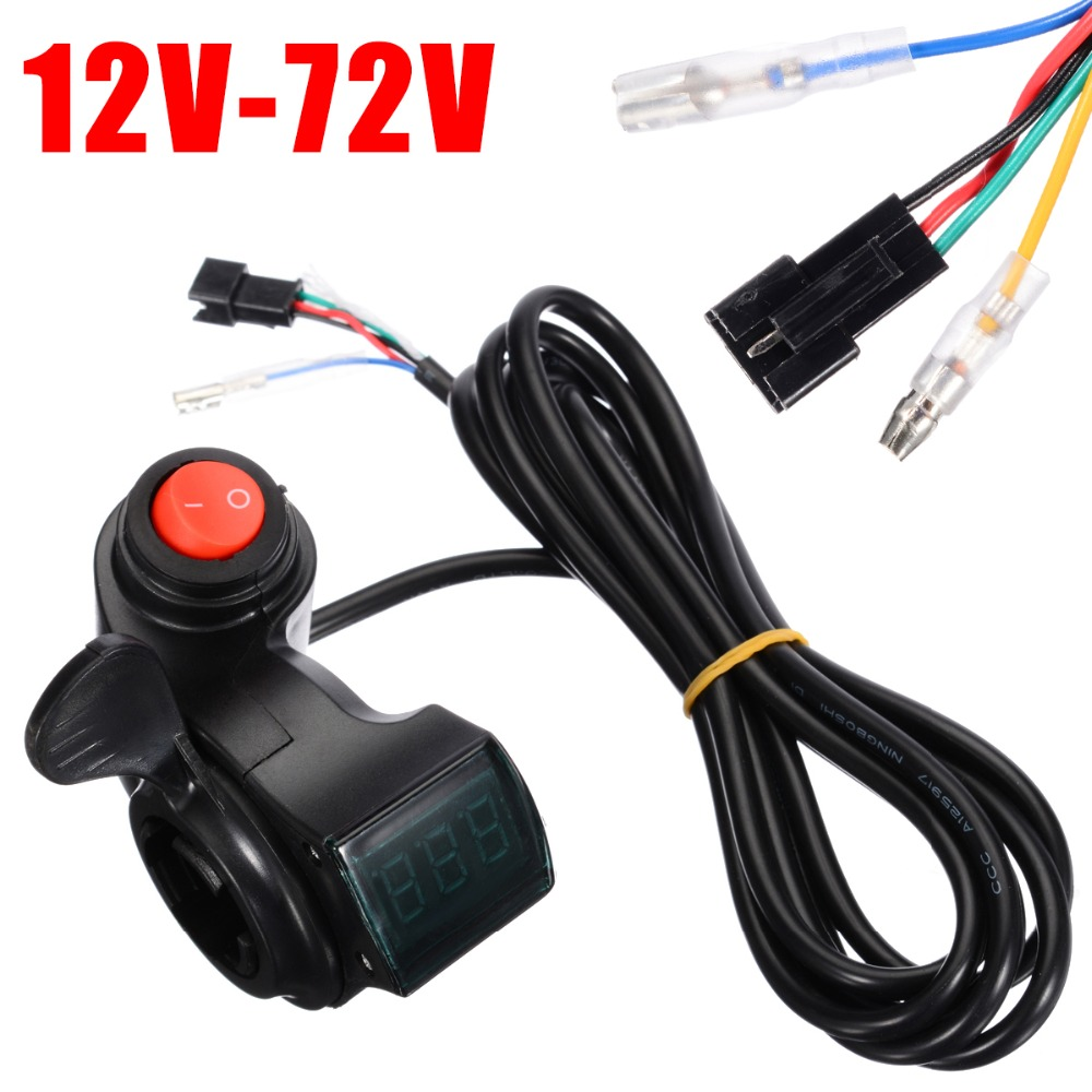 12V-72V LED EBike Electric Scooter Throttle Grip Handlebar Digital Meter+Key Kit