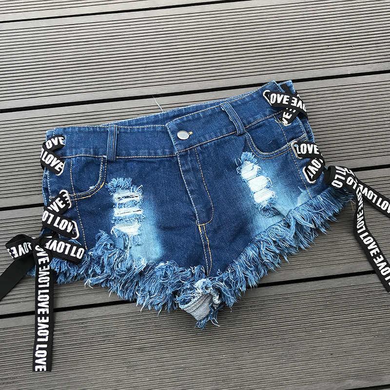 Wysokiej talii Sexy dżinsy damskie spodenki jeansowe 2019 lato koronki-up damskie Skinny denim bawełna uszkodzony otwór super krótkie dżinsy dziewczyny