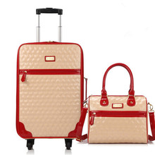 New Arrival Women Picture-in-suit PU Trolley Bags Spinner Wheels Boarding Computer Travel Suitcases Rolling Luggage bag maletas