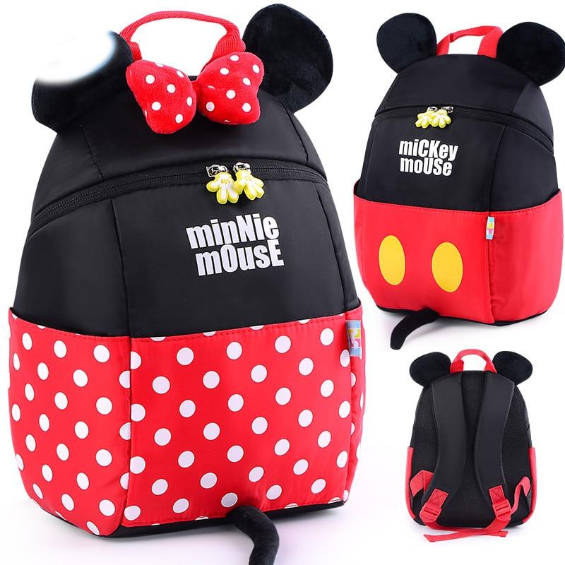 New Children Bags for girls Kindergarten Mickey Minnie School Bags Cartoon  bow tie Baby School Backpack a9698e9f77907