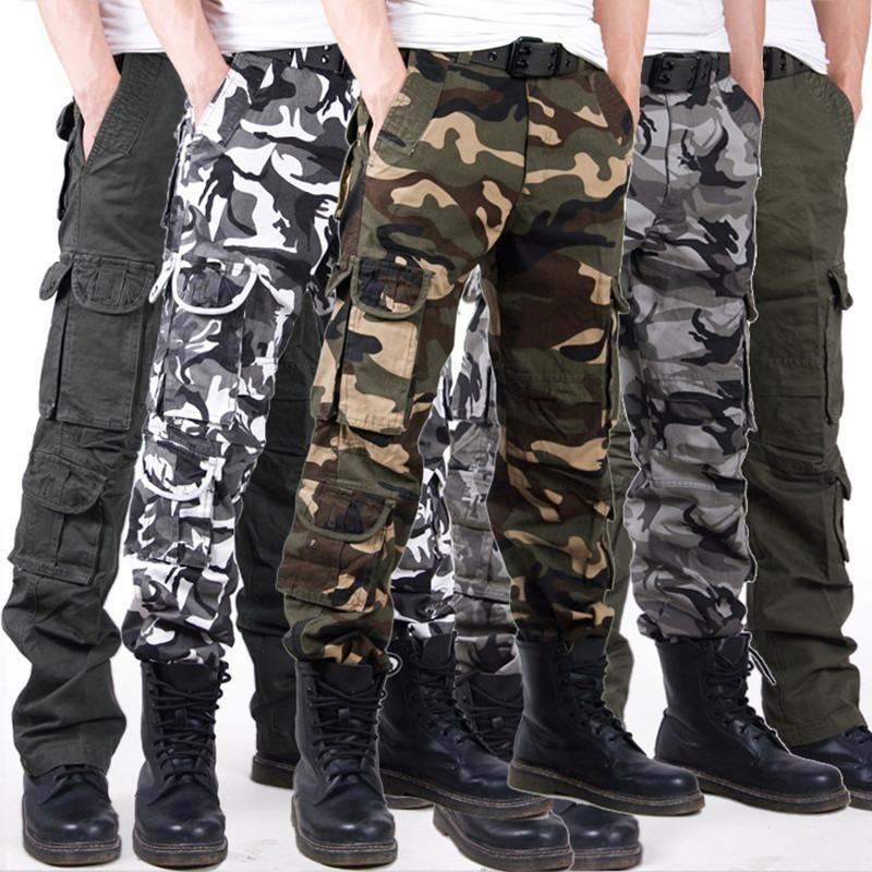 Mens Large Size Straight Camouflage Trousers Overalls Outdoor Cycling Hunting Climbing Hiking Training Military Tactical Pants