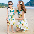 Mother Daughter Dresses 2017  Summer Family Matching Outfits  Sun Flower dress family clothing mother and daughter clothes