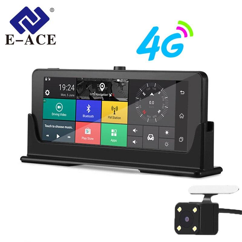 E-ACE 4G Navegação do GPS do Android Camara 7.0 Polegada DVRs Carro Espelho Retrovisor FHD 1080 P Gravador De Vídeo Wi-fi Bluetooth auto Dashcam