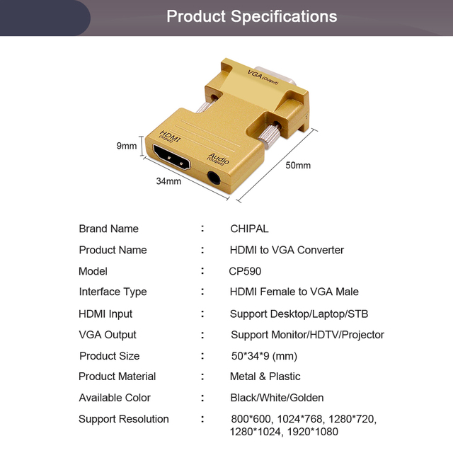 CHIPAL HDMI Female to VGA Male Converter with Audio Adapter Support 1080 Signal Output for Multimedia PC Laptop TV Box Projector